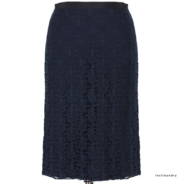 Sophie Hulme Midnight Navy Blau Exquisite Pineapple Lace Pencil Skirt S UK8 IT40