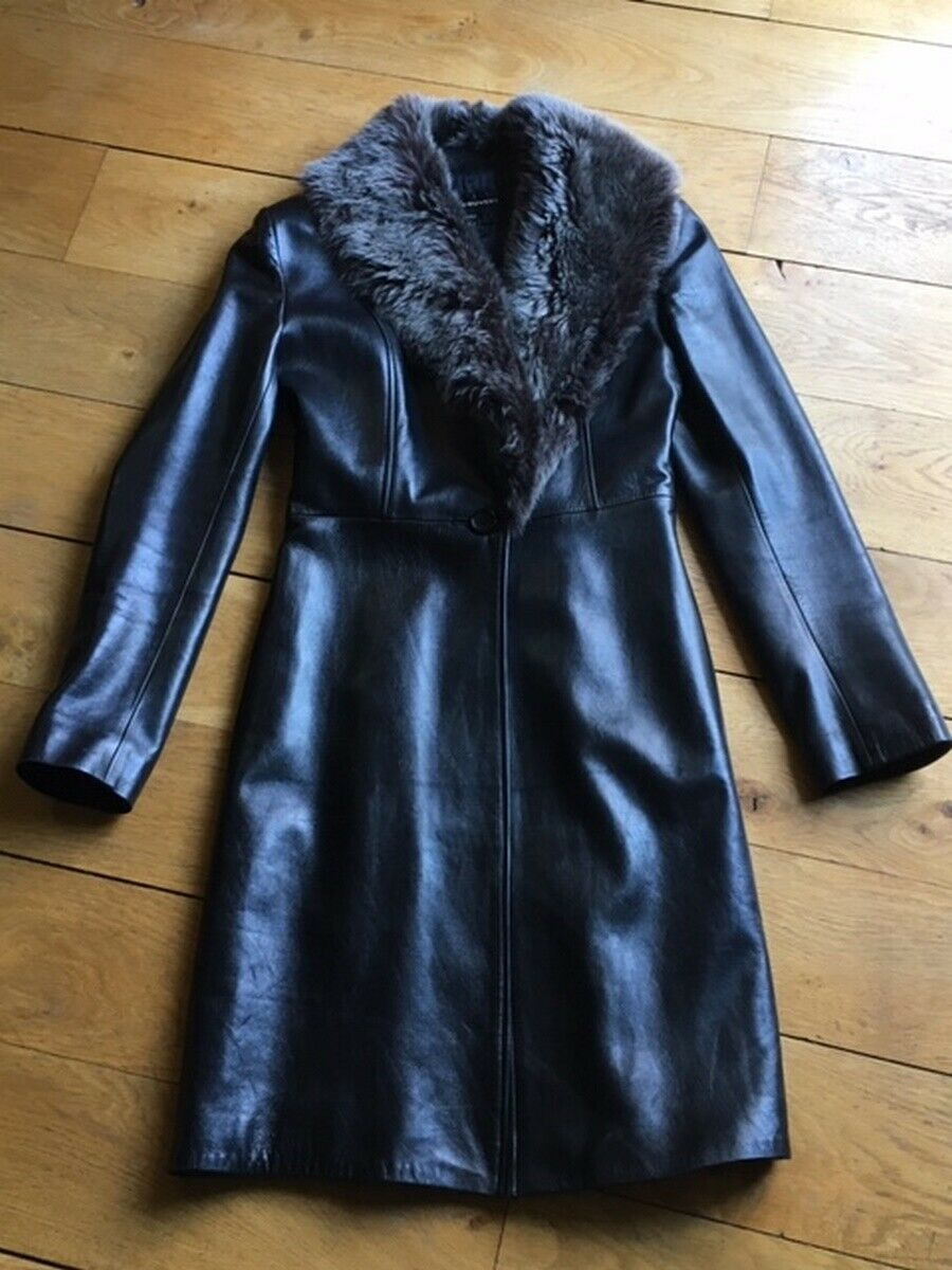 Trench en cuir black COL châle VENT COUgreen