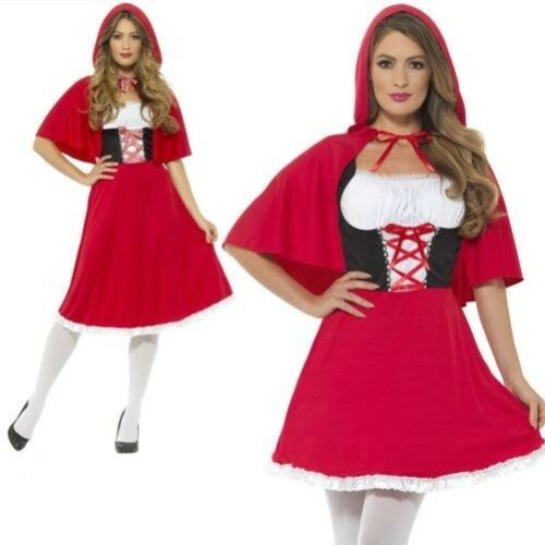 Femme Rouge Costume Petit Chaperon Rouge Déguisement Conte de Fée Court UK 8-22
