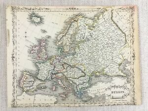 1848-Antik-Landkarte-von-Europa-Europaeische-Alte-19th-Century-Hand-Kolorierter