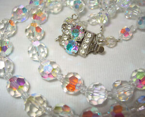 VINTAGE-1950-039-S-60-039-S-2-ROW-CZECH-AB-CRYSTAL-GLASS-BEADS-NECKLACE-PRETTY-CLASP