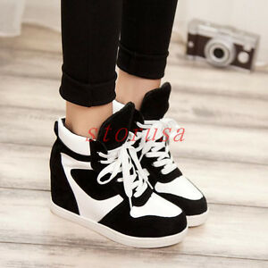 womens stylish skate shoes high top wedge heel lace
