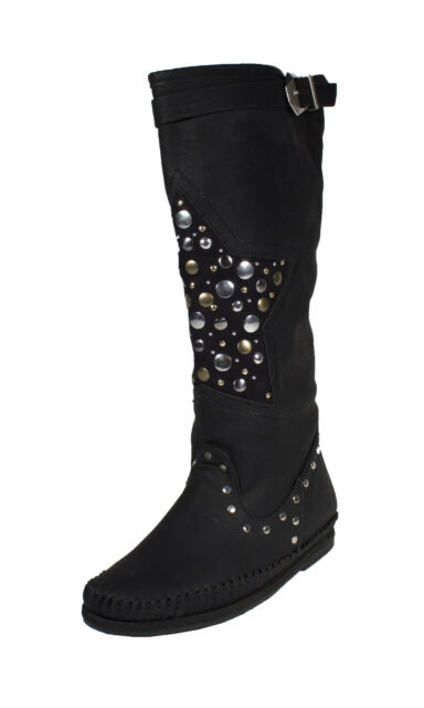 Nag! Soda Women's Moccasins Style Knee High Boots Black Leatherette