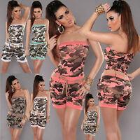 Sexy Women Camouflage Shorts Jumpsuit Summer Playsuits Ladies Belt 8 10 12 S M L