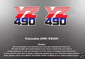 FUEL GRAPHICS 1986 VINTAGE YAMAHA TANK DECAL YZ490 txn6T7Zwq