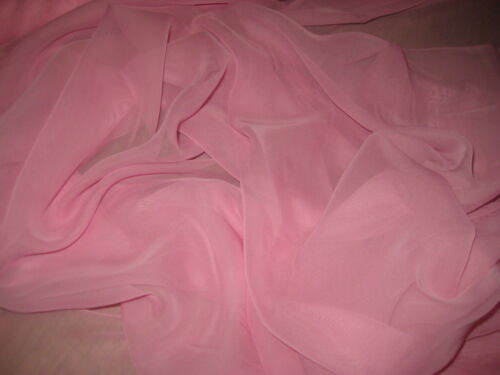 """Pink 100/% Polyester Chiffon Fabric 58 /"""" Wide By The Yard"""