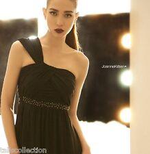 Joanne Kitten One Shoulder Cocktail Party Evening Maxi Long Black Dress JK-2738