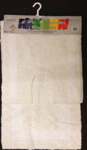 2 Piece Bath Pedestal Mat Bathroom Set 100/% Cotton Toilet Rug Mugs Off White New