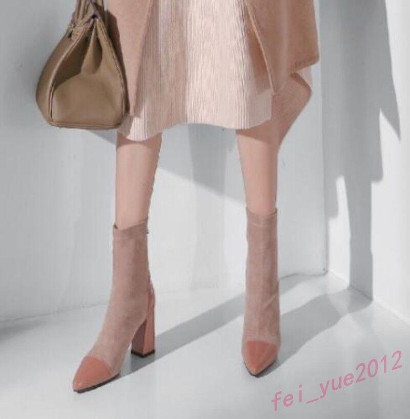 Women's Women's Women's Elegant Multi-color Pointed Toe Zip Mid Calf Boot shoes Suede High Heels 63f7d8