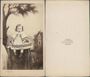 Clavet Bordeaux Portrait De Petite Fille Vintage CDV
