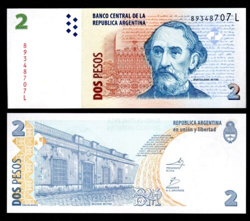 1 PCE OF 2 PESOS ND 2003 P-352 ARGENTINA IN S.AMERICA SERIE L,