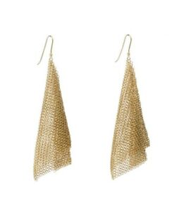 Tiffany & Co. Elsa Peretti Mesh Scarf 18K Yellow Gold Long Hook Earrings