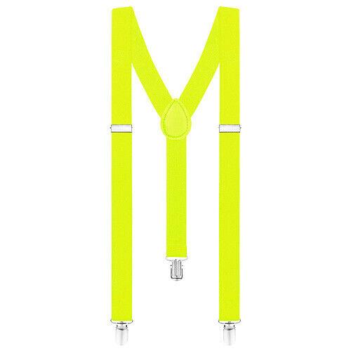 Multicolore Femmes /& Hommes Y-Forme Bretelles Fluo /& Uni Couleurs Élastique Avec