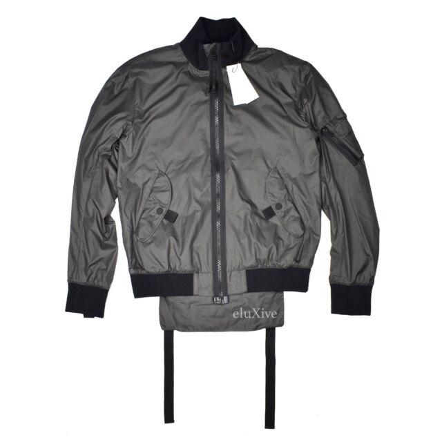 9220c5f815f5 NWT  595 Helmut Lang Men s Gray Translucent Nylon Flap Bomber Jacket S  AUTHENTIC