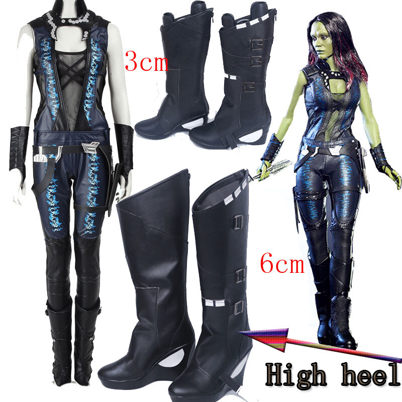 Hot Guardians of the Galaxy 2 Gamora Cosplay Full Suit Costume Shoes Boots