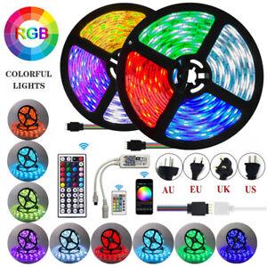 Tira-de-luz-LED-3528-5050-SMD-RGB-Impermeable-12V-controlador-ir-con-adaptador-de-energia