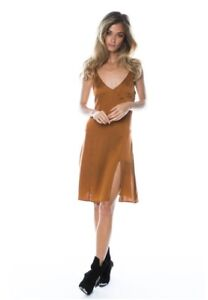 NWT-179-Arnhem-Venus-Silk-Stretch-Slip-Dress-Size-12-Bronze