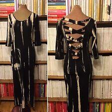 RARE London black grunge tie dye print jersey maxi long dress S UK 8-10 US 4-6