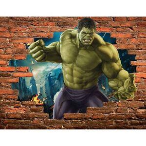 Stickers trompe l/'oeil pierre hulk avengers ref 15100