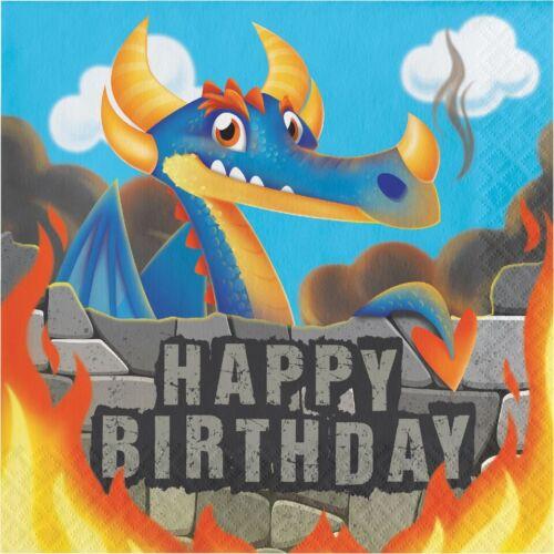 16 x Dragons Napkins 33cm Boys Happy Birthday Party Tableware Supplies Childrens