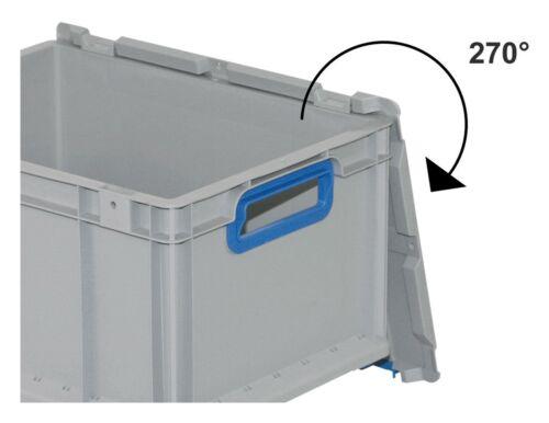 456765 Allit EuroBox 617 Größe 600 x 400 x 170mm Griffe offen grau blau