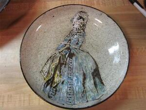 VTG-Chelsea-Pottery-1950s-Victorain-Lady-Shallow-Dish-England-Signed