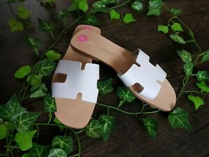 Womens White Summer Shoes Sliders Flats