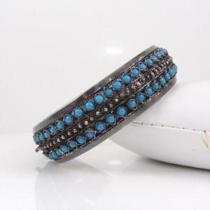 Vintage-935-Sterling-Silver-Blue-Turquoise-Hinged-Bangle-Bracelet-LFJ3