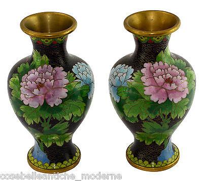 Brilliant Coppia Antichi Vasi Cloisonnè Pair Antiques Potiches Old Chinese Vase Minguo 900 Antiques