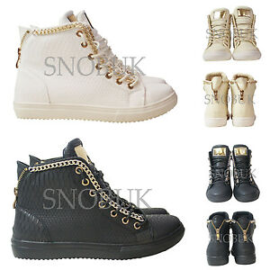 Ladies Womens Girls Snake Chain Zip  Art Sports Fashions Trainers High Top Shoes