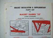 Original Horn Massey Harris 55 Large Standard Bracket Installation Parts List