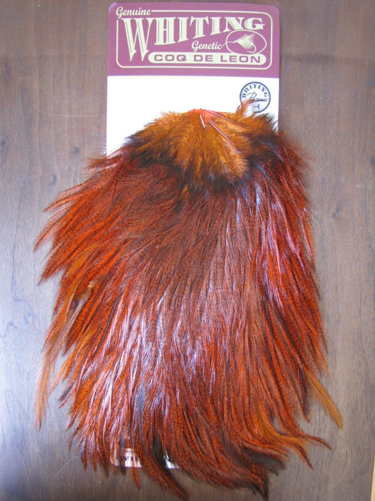 Fly Tying-Whiting Coq de Leon Bronze Rooster Saddle Badger orange  A