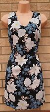 PRIMARK TEA WHITE BLUE BLACK FLORAL ORCHIDS TUNIC CAMI SMOCK SHIFT DRESS 10 S
