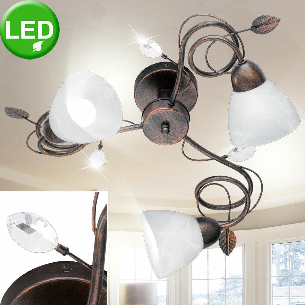 LED Decken Lampe Wohn Zimmer Alabaster Glas Beleuchtung Blätter Living-XXL