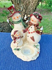 Vintage-SNOWMAN-Family-Melts-My-Heart-Tealight-Candle-Holder-Fit-YANKEE-sj17j