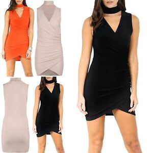 Ladies-Womens-Asymmetric-Choker-Neck-Sleeveless-Drape-Ruched-Bodycon-Mini-Dress