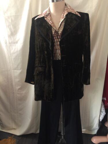 Vintage Mens 1970's Velvet Jacket, Print Shirt, &