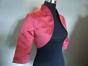 Raspberry Pink Satin Bolero//Shrug//Jacket//Stole//Shawl//Wrap 3//4 Sleeve Lined //////