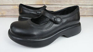 Dansko-Pro-Womens-EU-37-US-6-5-7-Mary-Jane-Buckle-Strap-Shoes-Black-Leather