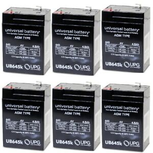 NEW 6 PACK UB645 6V 4.5AH Replacement Battery for Prescolite E82080800 RB6VDC4AH
