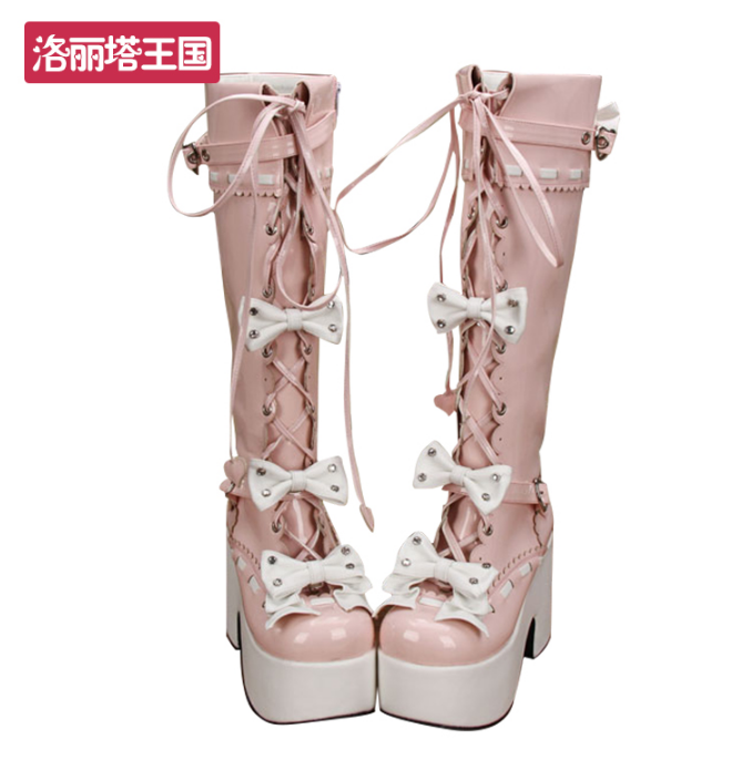 Lolita Donna Mary Janes Pelle Knee High Stivali Bowknot Cosplay Shoes Plus sz