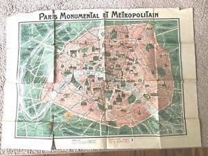 Vintage-1920s-Two-Sided-PARIS-Map-France-Monumental-Metropolitan-Color-F-Dutal