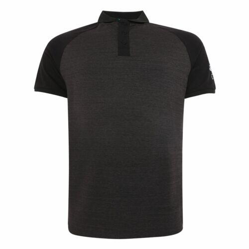 Liverpool FC Mens Charcoal Foootball Block Raglan Polo T-Shirt LFC Official
