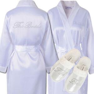 Rhinestone-The-Bride-Satin-Bathrobe-amp-Spa-Slippers-Set-Kimono-Dressing-gown