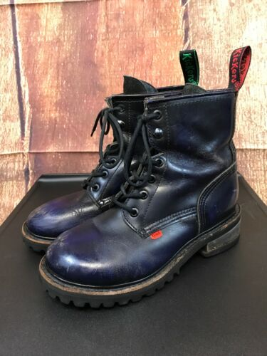 Men's Kickers Blue Leather High Top Boots Size 6.5