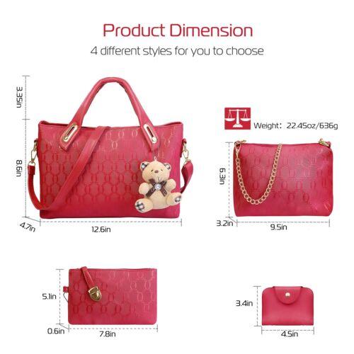 4PCS//Set Women Lady Leather Shoulder Bag Handbag Satchel Clutch Coin Purse Lot