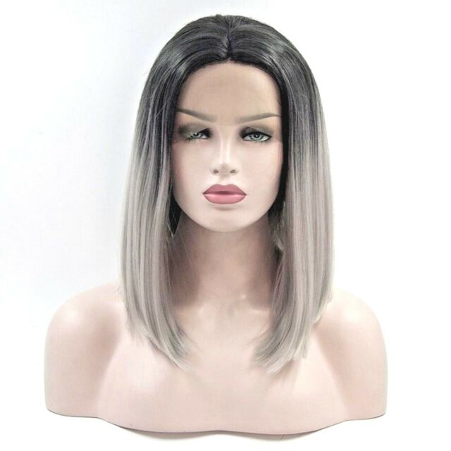 Human Hair Lace Front Grey Dark Roots With Natural Hairline Middle Part
