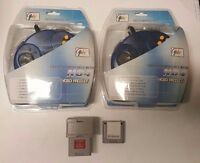 Two Blue Nintendo 64 Controllers N64 & Memory & Rumble