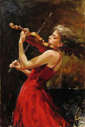 CHOP210  modern 100/% hand-painted PHILHARMONIC girl oil painting art on canvas