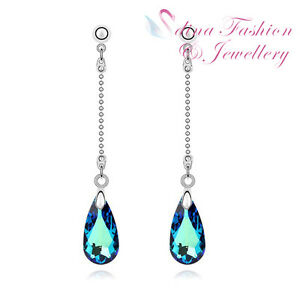 18K-White-Gold-Plated-Made-With-Swarovski-Crystal-Shining-Teardrop-Long-Earrings